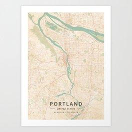 Portland, United States - Vintage Map Art Print