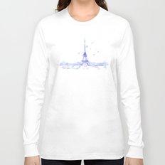 Watercolor landscape illustration_Eiffel Tower Long Sleeve T-shirt