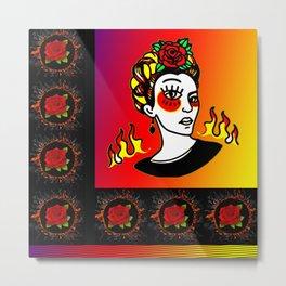 Colorful Frida Khalo Metal Print