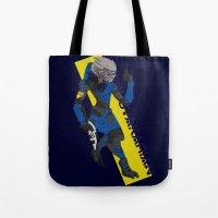 garrus Tote Bags featuring Garrus Vakarian by KuroHyena