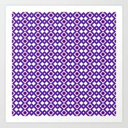 Geometric Design - Purple White and Magenta  - Diamonds Circles Squares Art Print