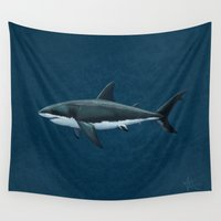biology Wall Tapestries featuring Carcharodon carcharias  ~ Great White Shark by Amber Marine