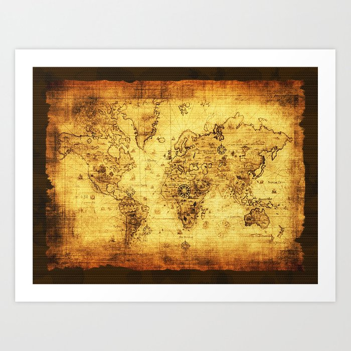 Arty Vintage Old World Map Art Print By Onlinegifts Society6