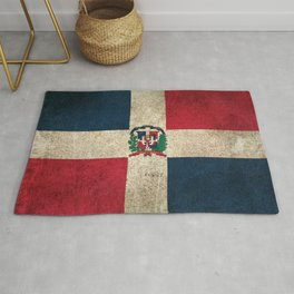 Old and Worn Distressed Vintage Flag of Dominican Republic Rug