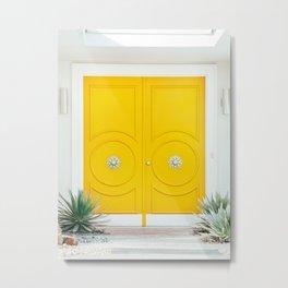 Yellow Door - Midcentury Modern Palm Springs Photography Metal Print