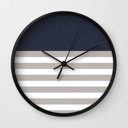 Blue Bretton Stripe Art Wall Clock