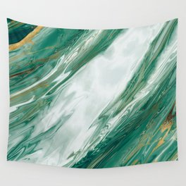 Emerald Jade Green Gold Accented Painted Marble Wall Tapestry