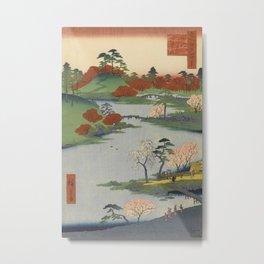 Summer Garden Ukiyo-e Japanese Art Metal Print