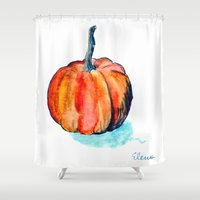 pumpkin Shower Curtains featuring Pumpkin by Elena Sandovici