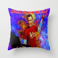 bazinga Throw Pillows featuring Bazinga Sheldon! by JT Digital Art