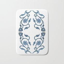 Blue Paisley Double Heart 1 Bath Mat