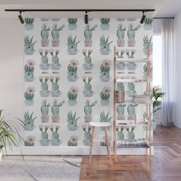 Girly Rose Cactus Pots Wall Mural