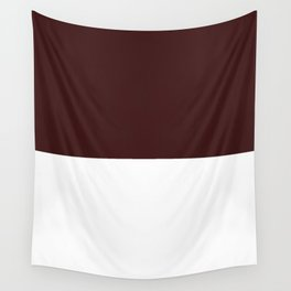 White and Dark Sienna Brown Horizontal Halves Wall Tapestry