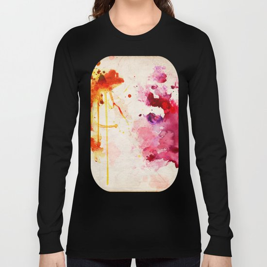 Fuchsia & Orange Color Splash Long Sleeve T-shirt