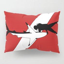 DIVER DOWN - blue shark dive Pillow Sham