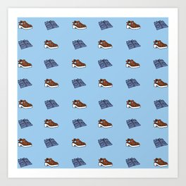 Shirt n Shoe Repeat Print- Blue Art Print