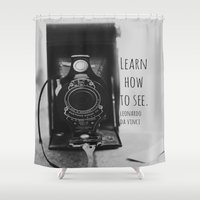 da vinci Shower Curtains featuring Learn How to See Da Vinci by KimberosePhotography