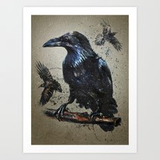 Raven background Art Print