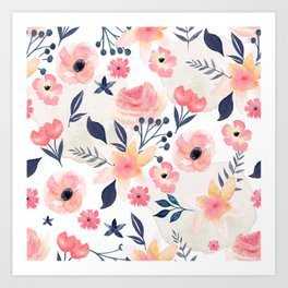 Coral and Navy Floral Design Art Print