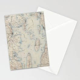 Vintage Map of The Narragansett Bay (1888) Stationery Cards