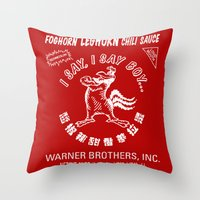 sriracha Throw Pillows featuring Foghorn Leghorn Sauce (White) by Huemanitee