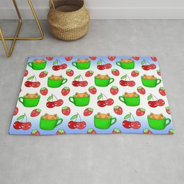 Cute happy funny Kawaii baby kittens sitting in little green espresso coffee cups, ripe red summer cherries and strawberries fruity colorful white and blue design. Rug