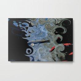 Cat & Koi Blue Metal Print