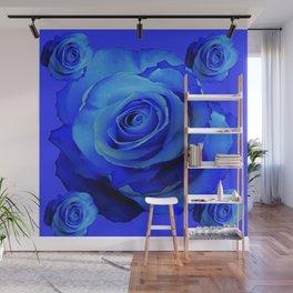 BLUE ROSES & BLUE  MODERN ART CONCEPT Wall Mural