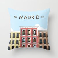 madrid Throw Pillows featuring Madrid by Sara Enriquez