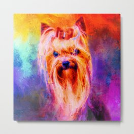 Jazzy Yorkshire Terrier Colorful Dog Art by Jai Johnson Metal Print