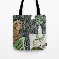 labrador Tote Bags featuring Geometry Labrador by Yuliya