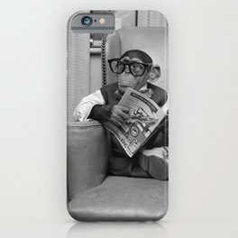 Dad on a Good Day - Chimpanzee Father reading the New York Times black and white photograph iPhone Case