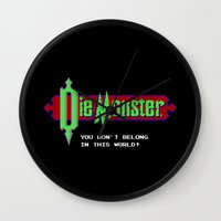 castlevania Wall Clocks featuring Castlevania - Die Monster. You Don't Belong In This World! by Aaron Campbell