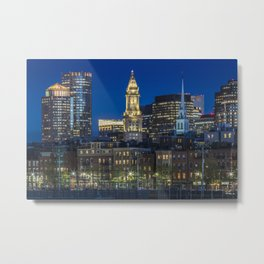 BOSTON Evening Skyline of North End & Financial District Metal Print