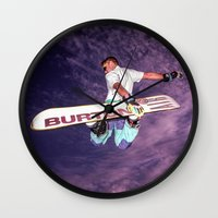snowboarding Wall Clocks featuring Snowboarding #2 by Bruce Stanfield