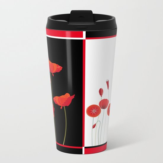 Flaming Poppies Metal Travel Mug