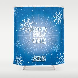 Happy New Year Merry Christmas winter holidays Shower Curtain