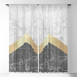 Stone Arrow Pattern - White & Black Marble & Gold #147 Sheer Curtain