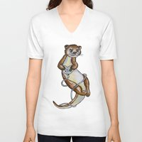 games V-neck T-shirts featuring Otter Games by Animal Camp