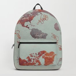 world map 142 red grey #worldmap #map Backpack