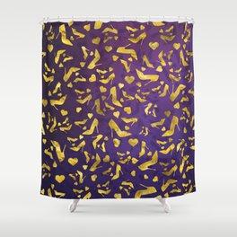 High Heels Gold shoe pattern Shower Curtain
