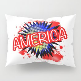 America Red White And Blue Cartoon Exclamation Pillow Sham