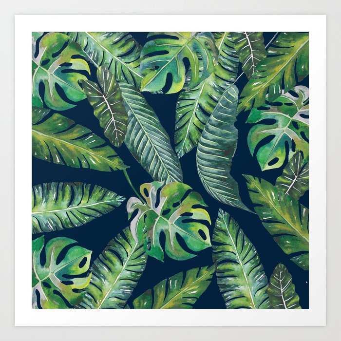 Jungle Leaves, Banana, Monstera, Blue Art Print