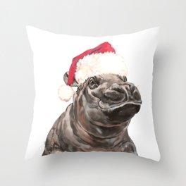 Christmas Baby Hippo Throw Pillow