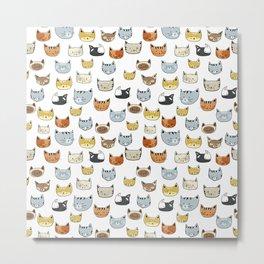 Cat Face Doodle Pattern Metal Print