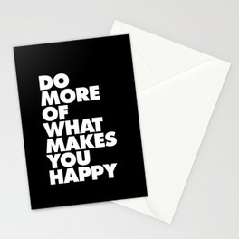Do More of What Makes You Happy Black and White Typography Poster Inspirational Quote Wall Art Decor Stationery Cards