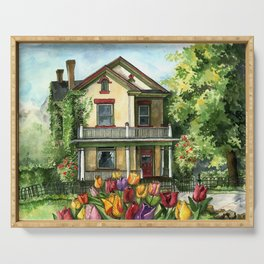 Farmhouse with Spring Tulips Serving Tray