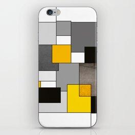 Black Yellow and Gray Geometric Art iPhone Skin