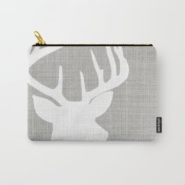 White Deer | Gray Linen Carry-All Pouch