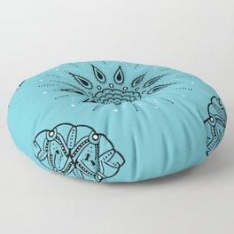 Central Mandala Turquoise Floor Pillow